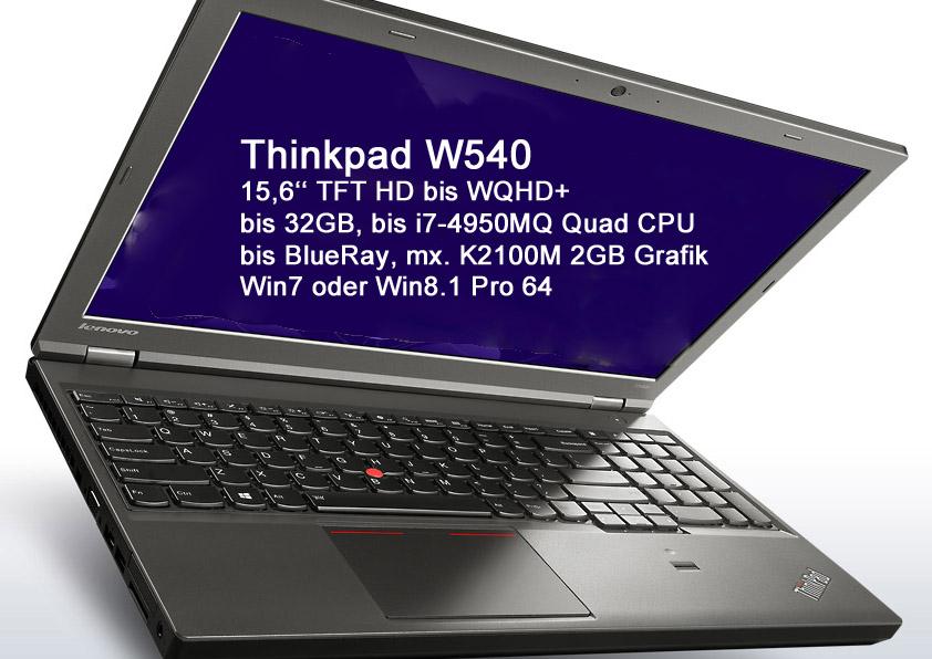 Lenovo Thinkpad W540 15,6 WQHD+ i7-4900MQ 8GB 512GB-SSD DVDRW K2100M W7P/W8P 3J.VO-Gar. 20BG001CGE